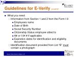 guidelines for e verify cont d