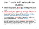 user example k 20 and continuing education