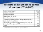 proposta di budget per la politica di coesione 2014 2020