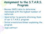 assignment to the s t a r s program
