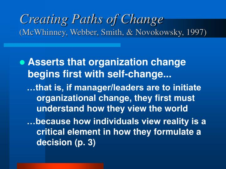 Creating paths of change mcwhinney webber smith novokowsky 1997