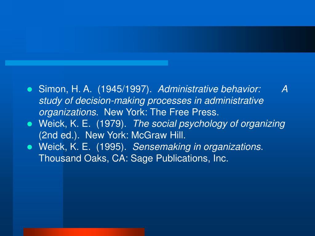 Simon, H. A.  (1945/1997).