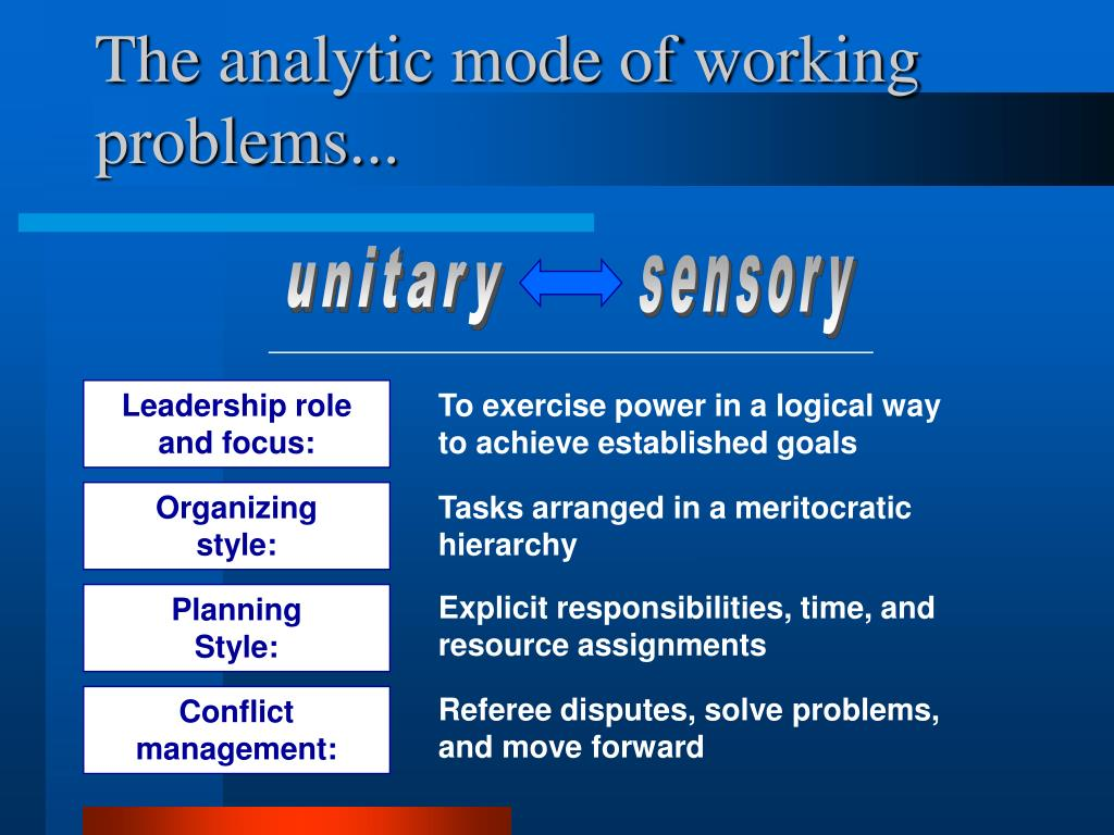 The analytic mode of working problems...