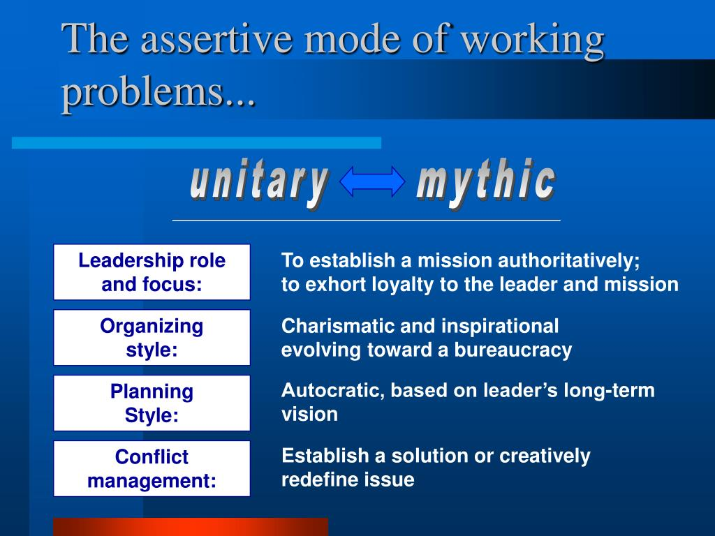 The assertive mode of working problems...