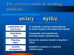 the assertive mode of working problems