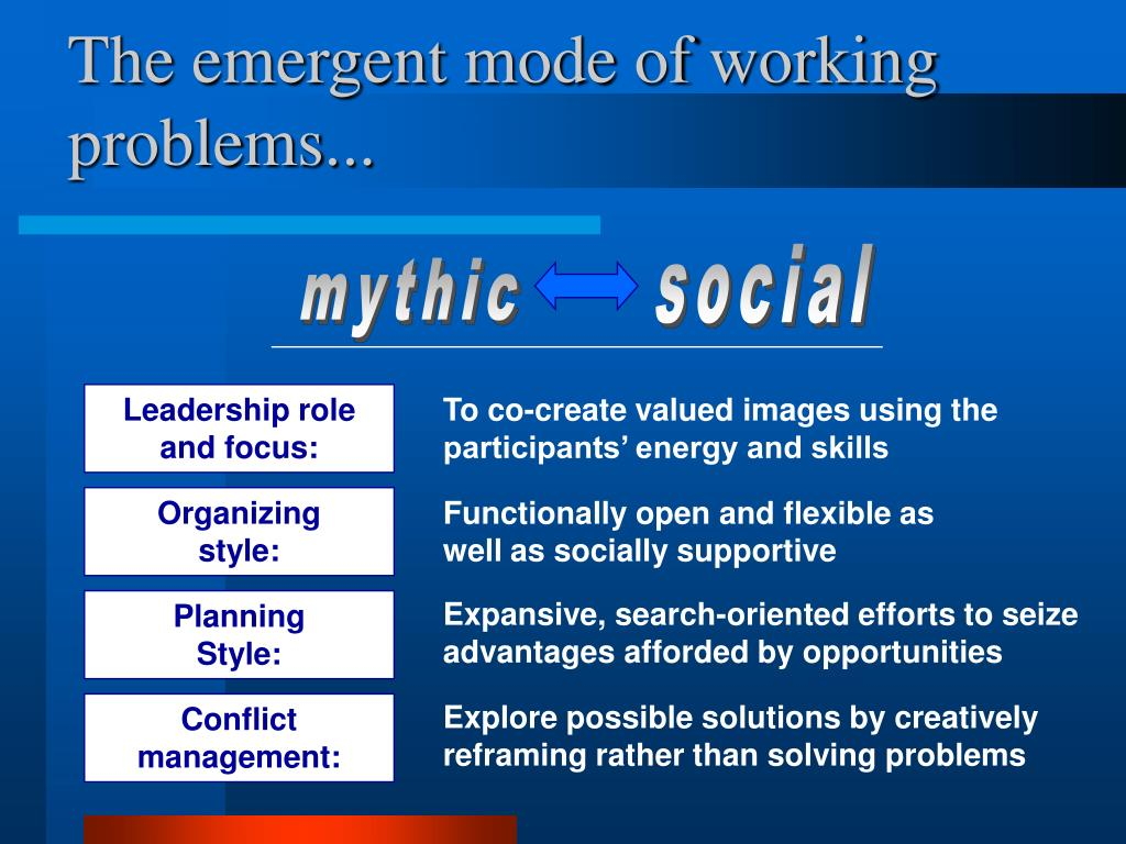The emergent mode of working problems...