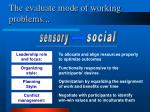 the evaluate mode of working problems