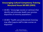 encouraging cultural competency training maryland house bill 883 2003