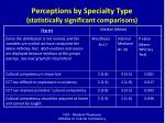perceptions by specialty type statistically significant comparisons
