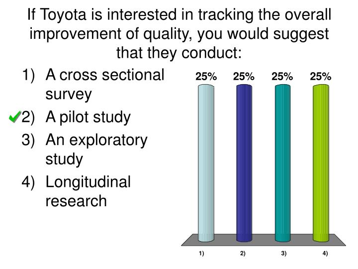 If Toyota is interested in tracking the overall improvement of quality, you would suggest that they conduct: