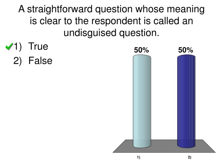 A straightforward question whose meaning is clear to the respondent is called an undisguised question.