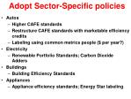 adopt sector specific policies