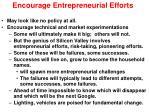 encourage entrepreneurial efforts