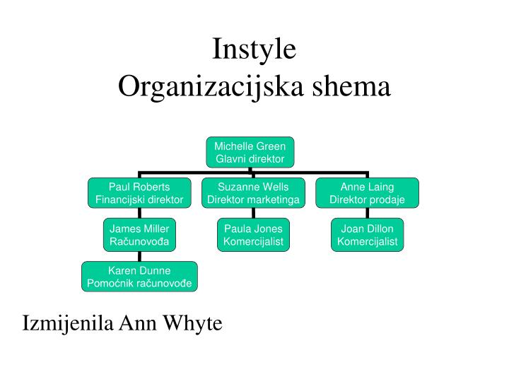 Instyle organizacijska shema