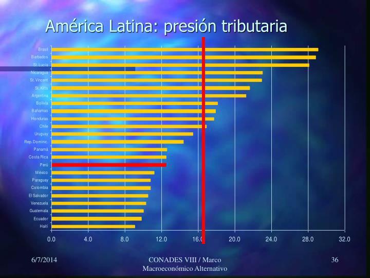 América Latina: presión tributaria