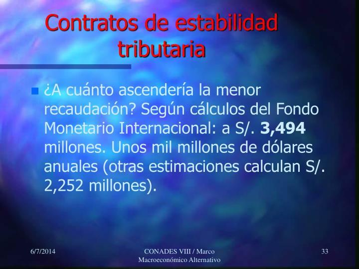 Contratos de estabilidad tributaria