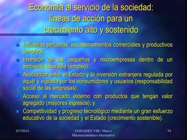 Economía al servicio de la sociedad:
