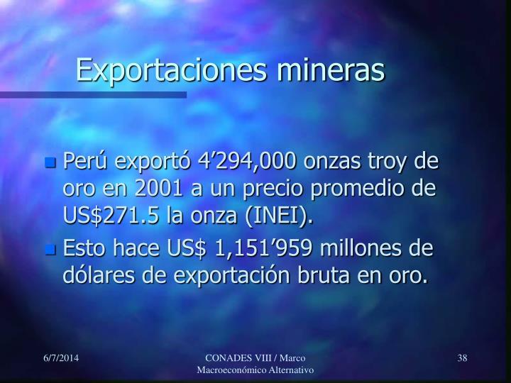 Exportaciones mineras