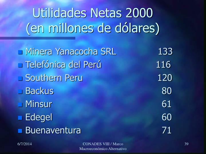 Utilidades Netas 2000