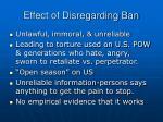 effect of disregarding ban
