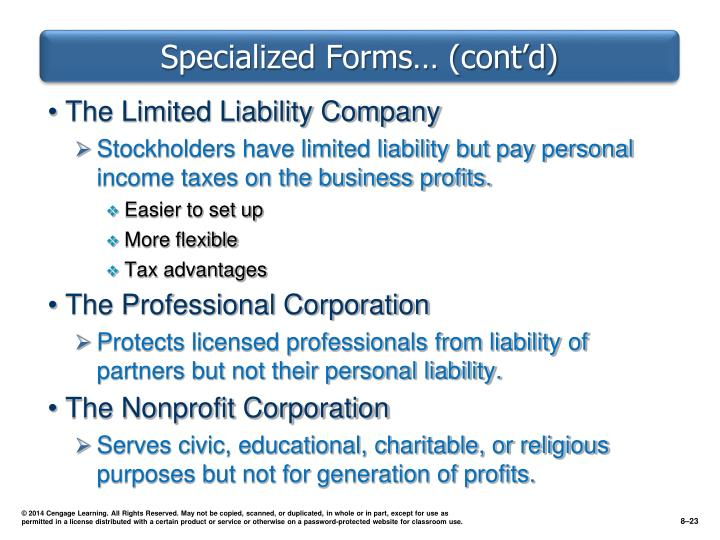 Specialized Forms… (cont'd)