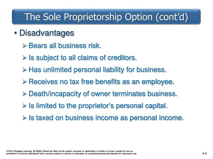 The Sole Proprietorship Option (cont'd)