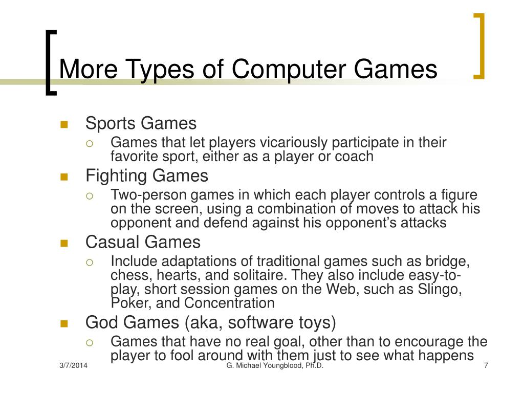 More Types of Computer Games