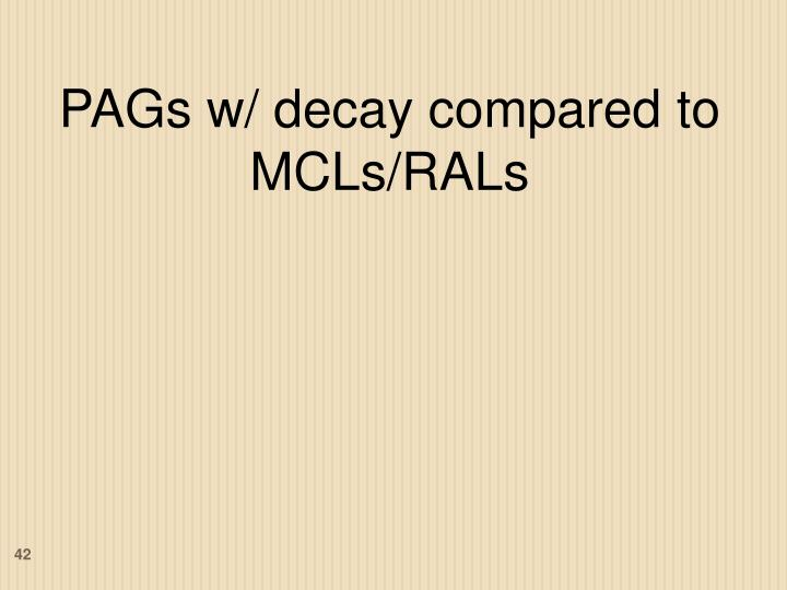 PAGs w/ decay compared to MCLs/RALs
