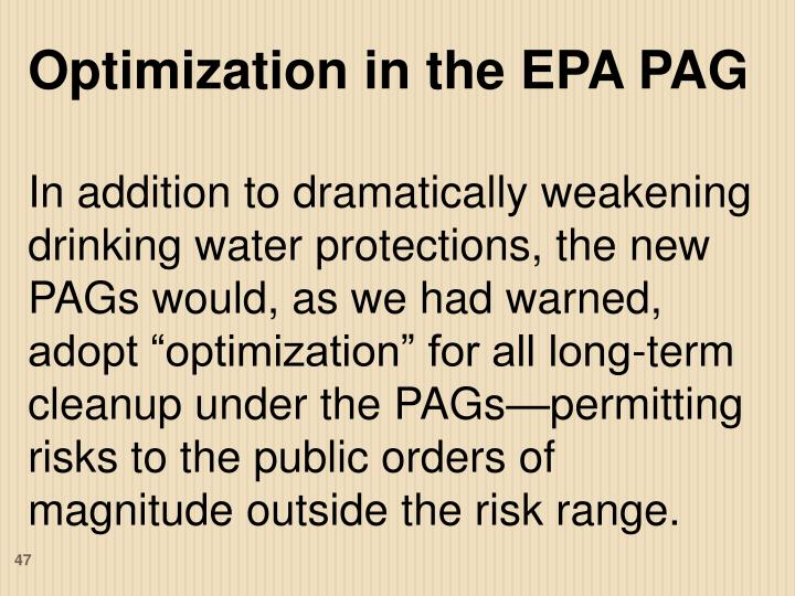 Optimization in the EPA PAG