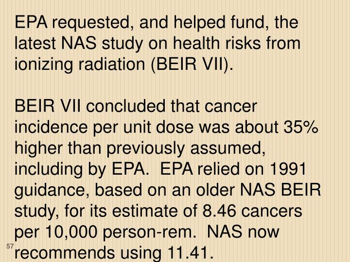 EPA requested, and helped fund, the latest NAS study on health risks from ionizing radiation (BEIR VII).