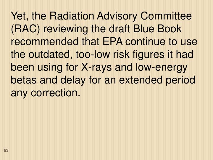 Yet, the Radiation Advisory Committee (RAC) reviewing the draft Blue Book recommended that EPA continue to use the outdated, too-low risk figures it had been using for X-rays and low-energy betas and delay for an extended period any correction.