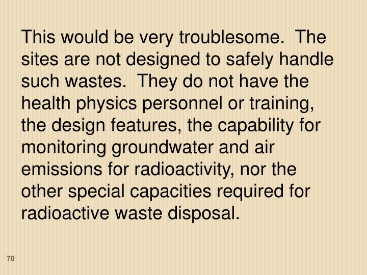 This would be very troublesome.  The sites are not designed to safely handle such wastes.  They do not have the health physics personnel or training, the design features, the capability for monitoring groundwater and air emissions for radioactivity, nor the other special capacities required for radioactive waste disposal.