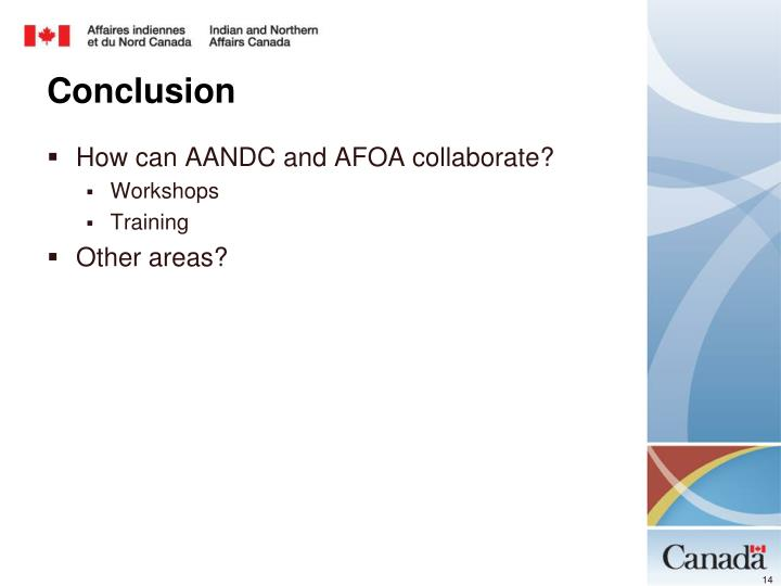 How can AANDC and AFOA collaborate?
