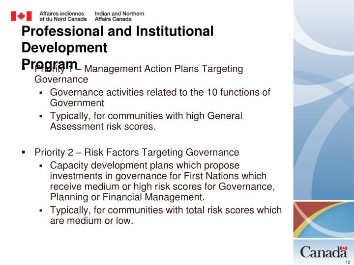 Priority 1 – Management Action Plans Targeting Governance
