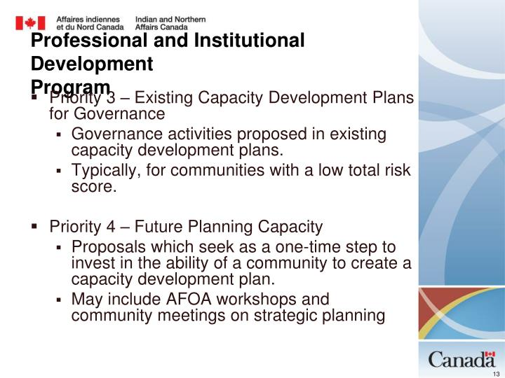 Priority 3 – Existing Capacity Development Plans for Governance
