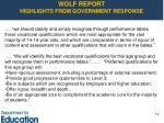 wolf report highlights from government response