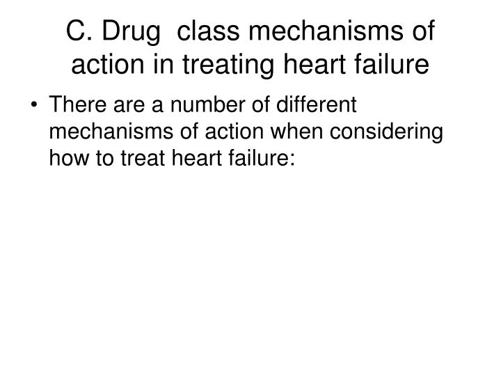 C. Drug  class mechanisms of action in treating heart failure
