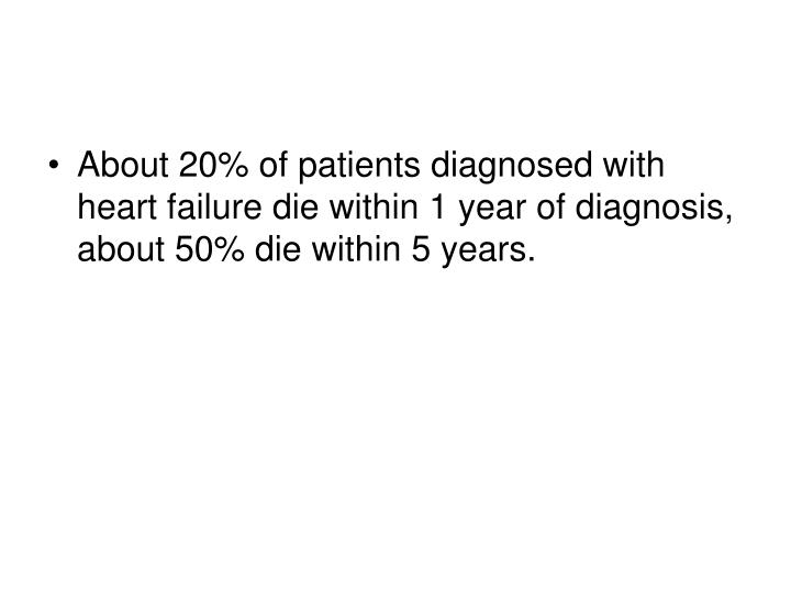 About 20% of patients diagnosed with heart failure die within 1 year of diagnosis, about 50% die within 5 years.