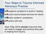 four steps to trauma informed advocacy practice