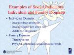 examples of social indicators individual and family domains