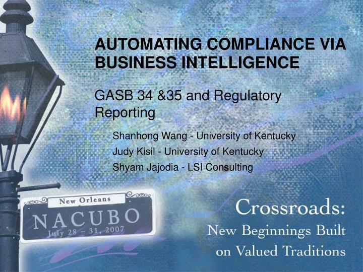automating compliance via business intelligence n.