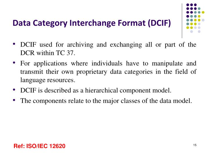 Data Category Interchange Format (DCIF)
