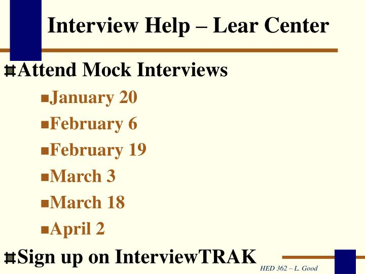 Interview Help – Lear Center