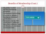 benefits of membership cont