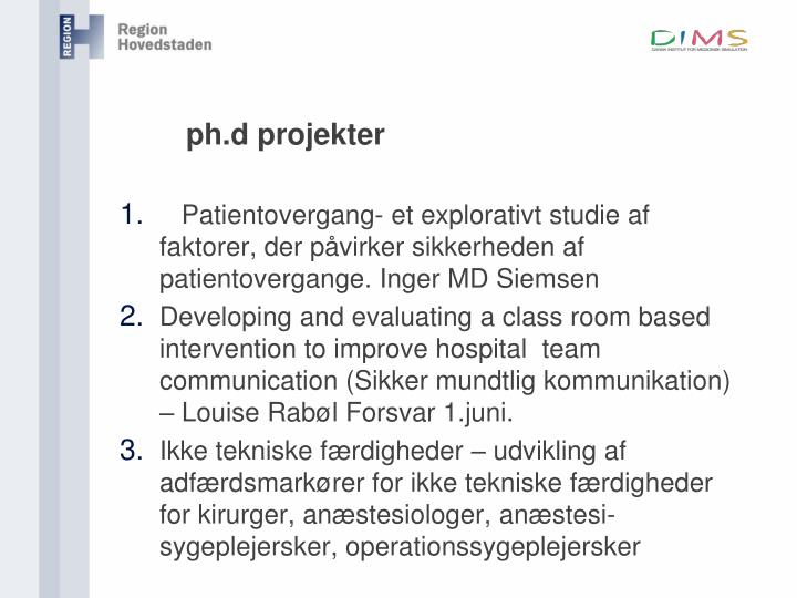 Ph d projekter