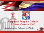 integration program catholic schools canada 2007