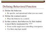 defining behavioral function
