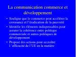 la communication commerce et d veloppement