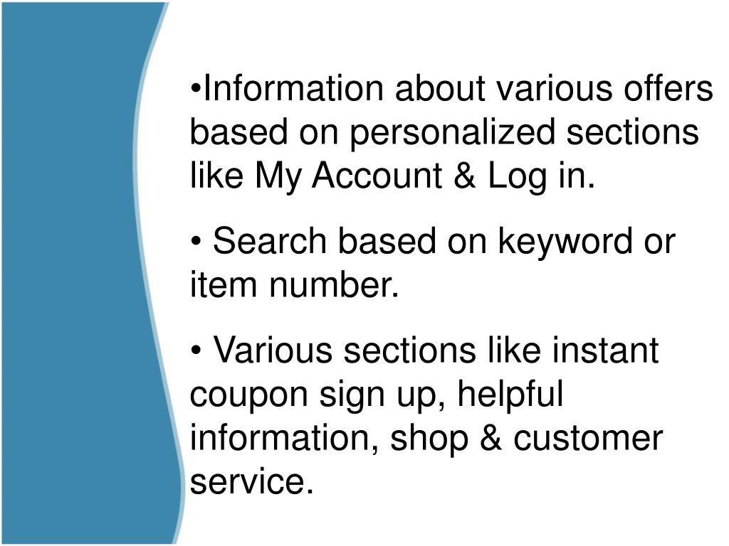Information about various offers based on personalized sections like My Account & Log in.