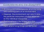 ecosystems and the biosphere